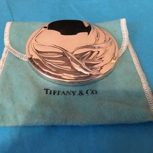 Tiffany & Co Silver Leaf Design Purse Mirror